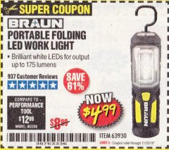 Harbor Freight Coupon PORTABLE FOLDING LED WORK LIGHT Lot No. 63930 Expired: 11/30/19 - $4.99