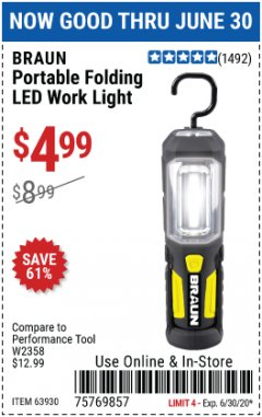 Harbor Freight Coupon PORTABLE FOLDING LED WORK LIGHT Lot No. 63930 Expired: 6/30/20 - $4.99