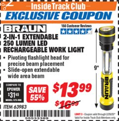 Harbor Freight ITC Coupon 2-IN-1 EXTENDABLE 250 LUMENS LED RECHARGEABLE WORK LIGHT Lot No. 63983 Expired: 2/29/20 - $13.99