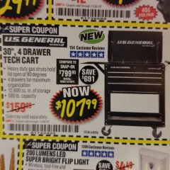 "Harbor Freight Coupon 30"", 4 DRAWER TECH CART Lot No. 64818/56391/56387/56386/56392/56394/56393/64096 Expired: 11/30/18 - $107.99"