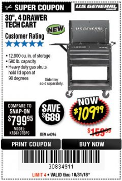"Harbor Freight Coupon 30"", 4 DRAWER TECH CART Lot No. 64818/56391/56387/56386/56392/56394/56393/64096 Expired: 10/31/18 - $109.99"
