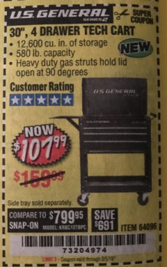 "Harbor Freight Coupon 30"", 4 DRAWER TECH CART Lot No. 64818/56391/56387/56386/56392/56394/56393/64096 Expired: 2/5/19 - $107.99"