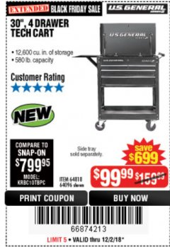 "Harbor Freight Coupon 30"", 4 DRAWER TECH CART Lot No. 64818/56391/56387/56386/56392/56394/56393/64096 Expired: 12/2/18 - $99.99"