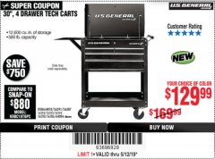 "Harbor Freight Coupon 30"", 4 DRAWER TECH CART Lot No. 64818/56391/56387/56386/56392/56394/56393/64096 Expired: 5/12/19 - $129.99"