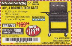 "Harbor Freight Coupon 30"", 4 DRAWER TECH CART Lot No. 64818/56391/56387/56386/56392/56394/56393/64096 Expired: 11/14/19 - $119.99"