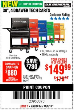 "Harbor Freight Coupon 30"", 4 DRAWER TECH CART Lot No. 64818/56391/56387/56386/56392/56394/56393/64096 Expired: 10/6/19 - $149.99"