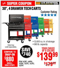 "Harbor Freight Coupon 30"", 4 DRAWER TECH CART Lot No. 64818/56391/56387/56386/56392/56394/56393/64096 Expired: 10/4/19 - $139.99"