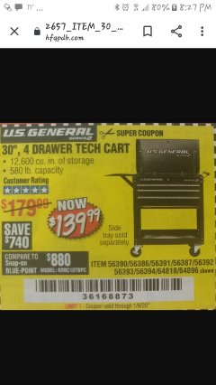 "Harbor Freight Coupon 30"", 4 DRAWER TECH CART Lot No. 64818/56391/56387/56386/56392/56394/56393/64096 Expired: 12/1/19 - $139.99"