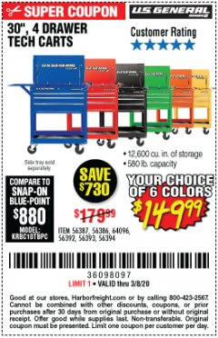 "Harbor Freight Coupon 30"", 4 DRAWER TECH CART Lot No. 64818/56391/56387/56386/56392/56394/56393/64096 Expired: 2/8/20 - $149.99"