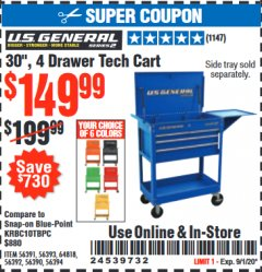 "Harbor Freight Coupon 30"", 4 DRAWER TECH CART Lot No. 64818/56391/56387/56386/56392/56394/56393/64096 Expired: 9/1/20 - $149.99"