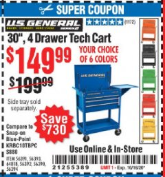 "Harbor Freight Coupon 30"", 4 DRAWER TECH CART Lot No. 64818/56391/56387/56386/56392/56394/56393/64096 Expired: 10/16/20 - $149.99"