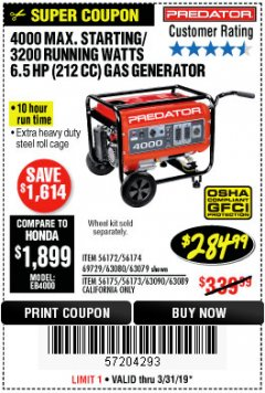 Harbor Freight Coupon 4000 MAX. STARTING/3200 RUNNING WATTS 6.5HP (212 CC) GAS GENERATOR Lot No. 56172/56174/69729/63080/63079/56175/56173/63090/63089 Expired: 3/31/19 - $284.99