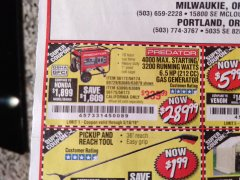 Harbor Freight Coupon 4000 MAX. STARTING/3200 RUNNING WATTS 6.5HP (212 CC) GAS GENERATOR Lot No. 56172/56174/69729/63080/63079/56175/56173/63090/63089 Expired: 5/18/19 - $289.99
