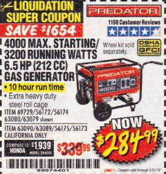 Harbor Freight Coupon 4000 MAX. STARTING/3200 RUNNING WATTS 6.5HP (212 CC) GAS GENERATOR Lot No. 56172/56174/69729/63080/63079/56175/56173/63090/63089 Expired: 5/31/19 - $284.99