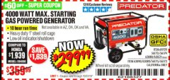 Harbor Freight Coupon 4000 MAX. STARTING/3200 RUNNING WATTS 6.5HP (212 CC) GAS GENERATOR Lot No. 56172/56174/69729/63080/63079/56175/56173/63090/63089 Expired: 10/31/19 - $299.99