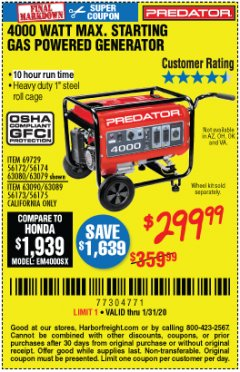 Harbor Freight Coupon 4000 MAX. STARTING/3200 RUNNING WATTS 6.5HP (212 CC) GAS GENERATOR Lot No. 56172/56174/69729/63080/63079/56175/56173/63090/63089 Expired: 1/31/20 - $299.99