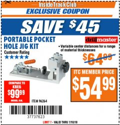 Harbor Freight ITC Coupon PORTABLE POCKET HOLE JIG KIT Lot No. 96264 Expired: 7/10/18 - $54.99