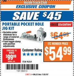 Harbor Freight ITC Coupon PORTABLE POCKET HOLE JIG KIT Lot No. 96264 Expired: 11/6/18 - $54.99