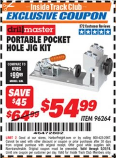 Harbor Freight ITC Coupon PORTABLE POCKET HOLE JIG KIT Lot No. 96264 Expired: 5/31/19 - $54.99
