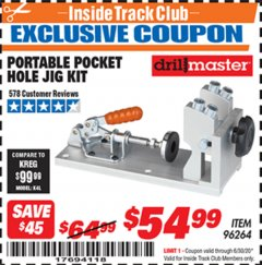 Harbor Freight ITC Coupon PORTABLE POCKET HOLE JIG KIT Lot No. 96264 Expired: 6/30/20 - $54.99