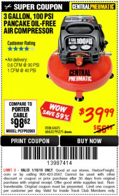 Harbor Freight ITC Coupon 3 GALLON, 100 PSI PANCAKE OIL-FREE AIR COMPRESSOR Lot No. 61615/60637/95275 Expired: 1/10/19 - $39.99