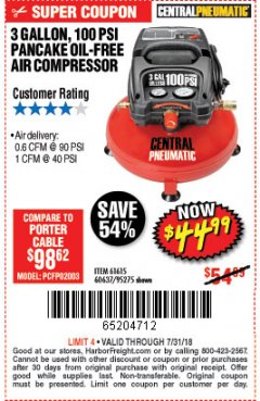 Harbor Freight Coupon 3 GALLON, 100 PSI PANCAKE OIL-FREE AIR COMPRESSOR Lot No. 61615/60637/95275 Expired: 7/31/18 - $44.99