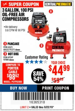 Harbor Freight Coupon 3 GALLON, 100 PSI PANCAKE OIL-FREE AIR COMPRESSOR Lot No. 61615/60637/95275 Expired: 9/22/19 - $44.99