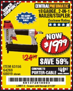 Harbor Freight Coupon 18 GAUGE, 2-IN-1 NAILER/STAPLER Lot No. 63156/64269/68019 EXPIRES: 6/30/20 - $19.99
