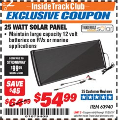 Harbor Freight ITC Coupon 25 WATT SOLAR PANEL Lot No. 63940 Expired: 11/30/19 - $54.99
