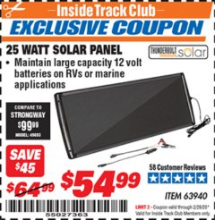 Harbor Freight ITC Coupon 25 WATT SOLAR PANEL Lot No. 63940 Expired: 2/29/20 - $54.99