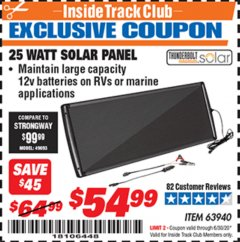 Harbor Freight ITC Coupon 25 WATT SOLAR PANEL Lot No. 63940 Expired: 6/30/20 - $54.99