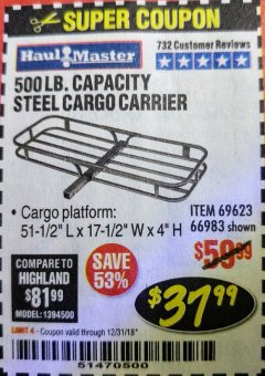 Harbor Freight Coupon STEEL CARGO CARRIER Lot No. 66983/69623 Expired: 12/31/18 - $37.99