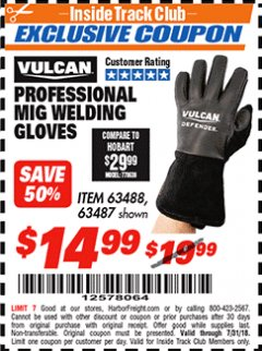 Harbor Freight ITC Coupon PROFESSIONAL MIG WELDING GLOVES Lot No. 63488 Expired: 7/31/18 - $14.99