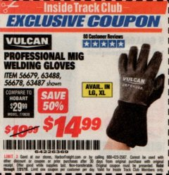 Harbor Freight ITC Coupon PROFESSIONAL MIG WELDING GLOVES Lot No. 63488 Expired: 7/31/19 - $14.99