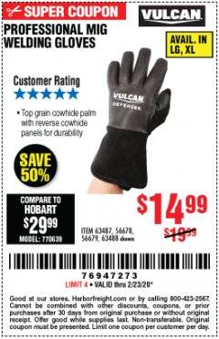 Harbor Freight Coupon PROFESSIONAL MIG WELDING GLOVES Lot No. 63488 Valid: 2/11/20 - 2/23/20 - $14.99