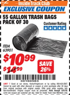Harbor Freight ITC Coupon 55 GALLON TRASH BAGS Lot No. 63901 Expired: 3/31/19 - $10.99