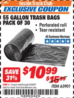 Harbor Freight ITC Coupon 55 GALLON TRASH BAGS Lot No. 63901 Valid: 2/1/20 - 2/29/20 - $10.99