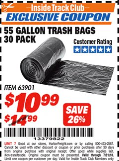 Harbor Freight ITC Coupon 55 GALLON TRASH BAGS Lot No. 63901 Expired: 7/31/18 - $10.99