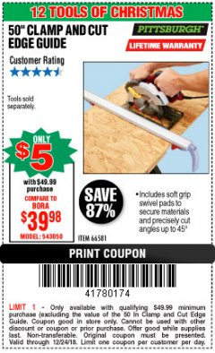 "Harbor Freight Coupon 50"" CLAMP AND CUT EDGE GUIDE Lot No. 66581 Expired: 12/24/18 - $5"