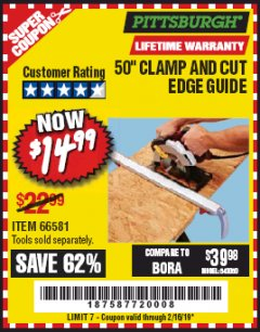 "Harbor Freight Coupon 50"" CLAMP AND CUT EDGE GUIDE Lot No. 66581 Expired: 1/16/19 - $14.99"