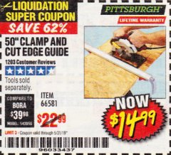 "Harbor Freight Coupon 50"" CLAMP AND CUT EDGE GUIDE Lot No. 66581 Expired: 5/31/19 - $14.99"