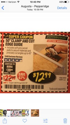 "Harbor Freight Coupon 50"" CLAMP AND CUT EDGE GUIDE Lot No. 66581 Expired: 8/31/19 - $12.99"