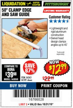"Harbor Freight Coupon 50"" CLAMP AND CUT EDGE GUIDE Lot No. 66581 Expired: 10/31/19 - $12.99"
