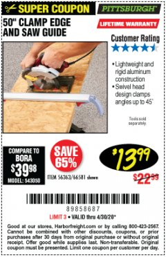 "Harbor Freight Coupon 50"" CLAMP AND CUT EDGE GUIDE Lot No. 66581 Expired: 6/30/20 - $13.99"