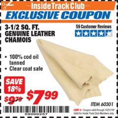 Harbor Freight ITC Coupon 3-1/2 SQUARE FT. GENUINE LEATHER CHAMOIS Lot No. 60301 Expired: 10/31/19 - $7.99