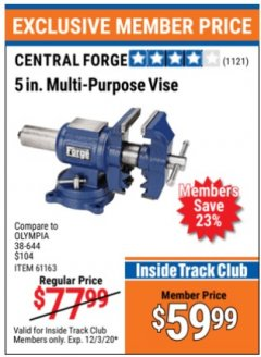 "Harbor Freight ITC Coupon 5"" MULTI-PURPOSE VISE Lot No. 67415/61163/64413 Expired: 12/3/20 - $59.99"