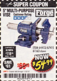 "Harbor Freight Coupon 5"" MULTI-PURPOSE VISE Lot No. 67415/61163/64413 Expired: 11/30/18 - $54.99"