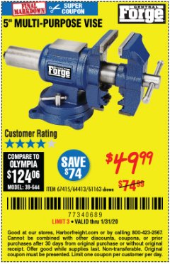 "Harbor Freight Coupon 5"" MULTI-PURPOSE VISE Lot No. 67415/61163/64413 Expired: 1/31/20 - $49.99"