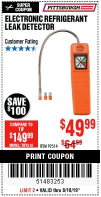 Harbor Freight Coupon ELECTRONIC REFRIGERANT LEAK DETECTOR Lot No. 92514 Expired: 8/18/19 - $49.99