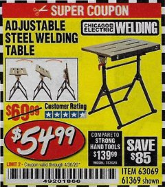 Harbor Freight Coupon ADJUSTABLE STEEL WELDING TABLE Lot No. 63069/61369 EXPIRES: 6/30/20 - $54.99